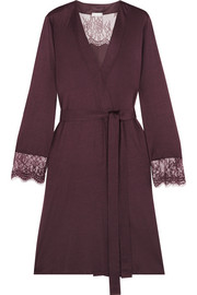 Hanro Estelle lace-paneled modal and silk-blend jersey robe