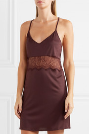 Estelle lace-paneled modal and silk-blend jersey chemise