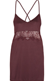 Hanro Estelle lace-paneled modal and silk-blend jersey chemise