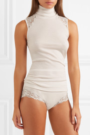 Lillian lace-trimmed ribbed wool and silk-blend briefs