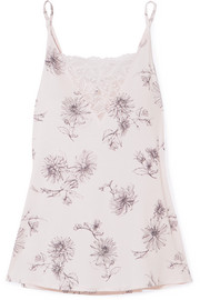 Camile lace-trimmed printed modal-jersey camisole