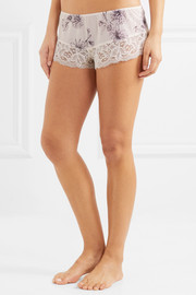 Camille lace-trimmed printed jersey pajama shorts