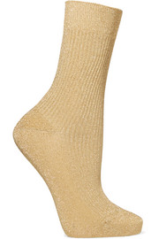 Metallic ribbed-knit socks