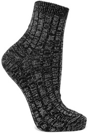 Metallic ribbed wool-blend socks
