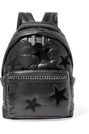Stella McCartney Falabella GO faux leather-trimmed appliquéd shell backpack