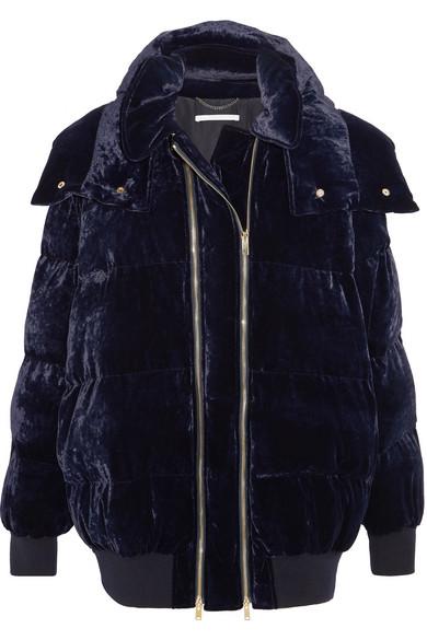 Stella McCartney - Hooded Quilted Velvet Jacket - Midnight blue