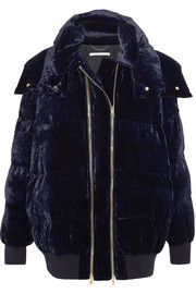 Hooded quilted velvet jacket