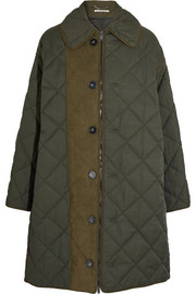 Oversized faux suede-trimmed quilted twill jacket