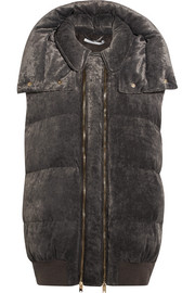 Stella McCartney Hooded quilted velvet gilet