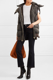 Hooded quilted velvet gilet