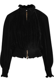 Stella McCartney Ruffled velvet bomber jacket