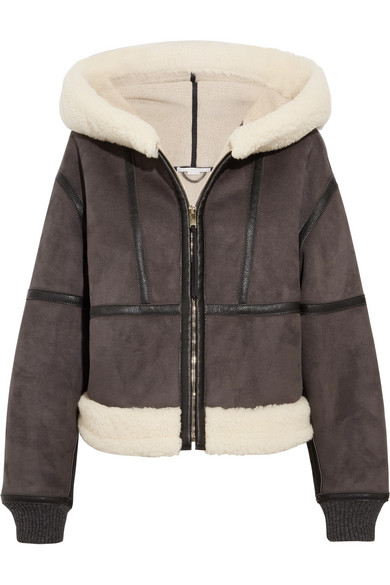 Stella McCartney - Hooded Faux Shearling Jacket - Charcoal