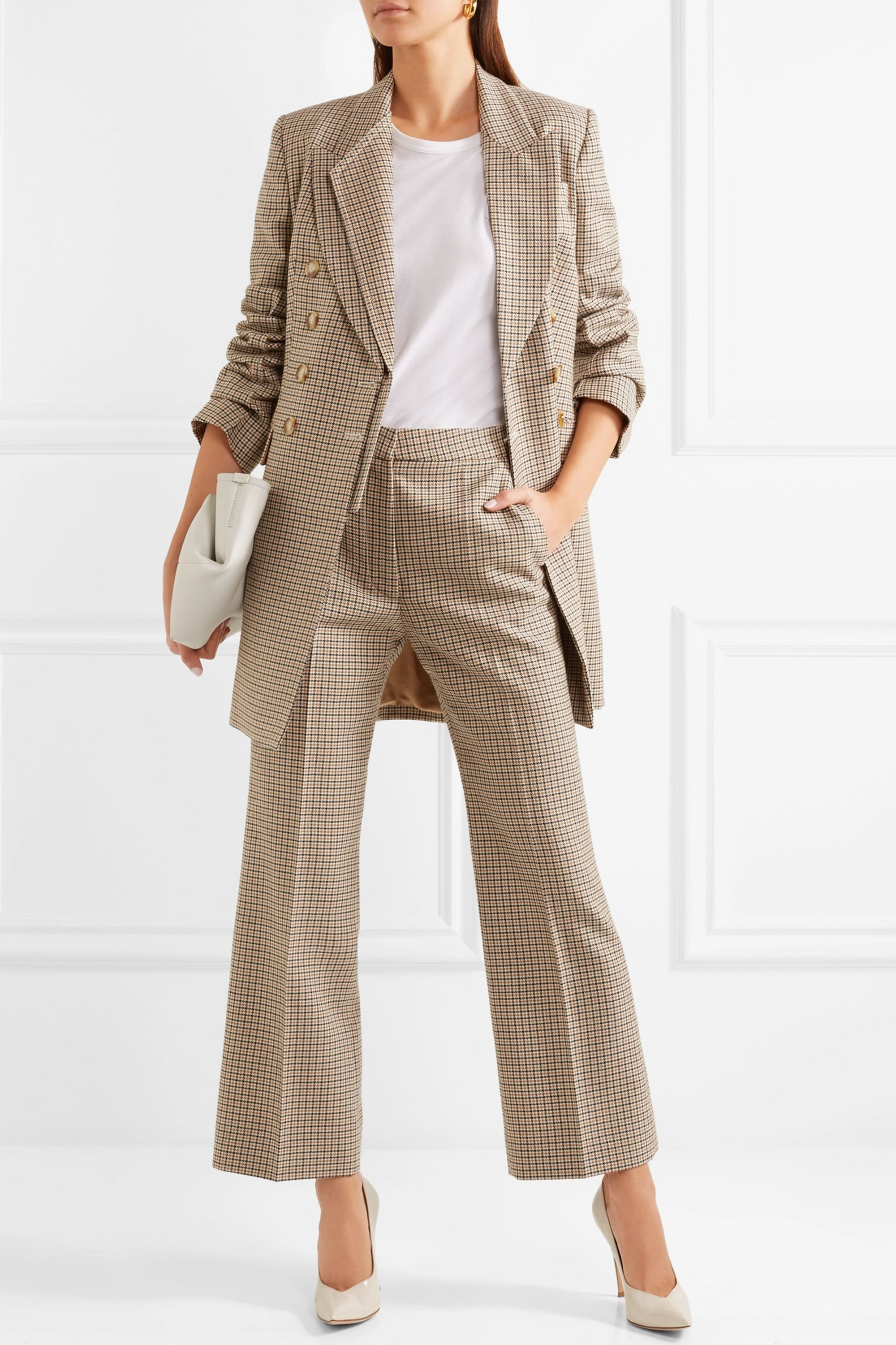 Stella McCartney Double-breasted checked wool blazer