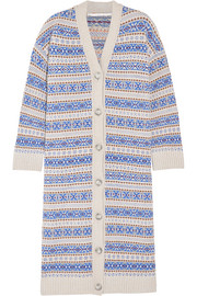 Fair Isle oversized wool cardigan