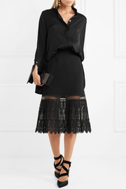 Stella McCartney Crepe and pleated embroidered lace midi skirt