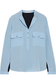 Stella McCartney Estelle two-tone silk crepe de chine shirt
