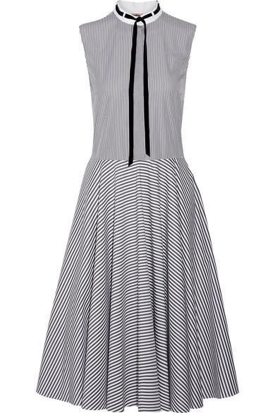 Adam Lippes - Pussy-bow Striped Cotton-poplin Dress - Gray