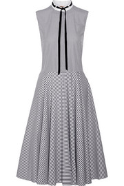 Adam Lippes Pussy-bow striped cotton-poplin dress