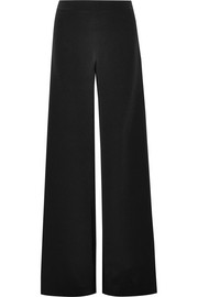 Adam Lippes Chiffon-paneled silk-crepe wide-leg pants