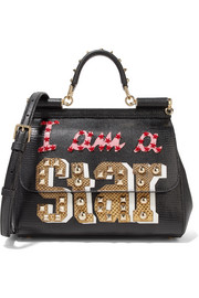 Dolce & Gabbana Sicily medium ayers-appliquéd lizard-effect leather tote