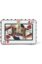 Dolce & Gabbana Dolce Box embellished printed textured-leather clutch