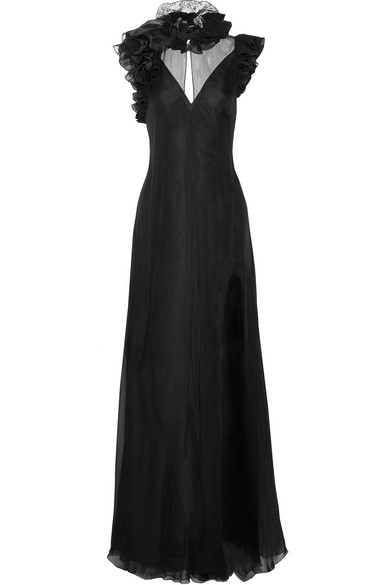 Lanvin - Ruffled Lace-trimmed Silk-muslin And Satin Gown - Black at NET-A-PORTER