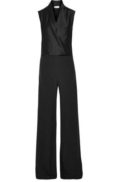 Lanvin - Sable Silk-satin And Crepe Jumpsuit - Black at NET-A-PORTER