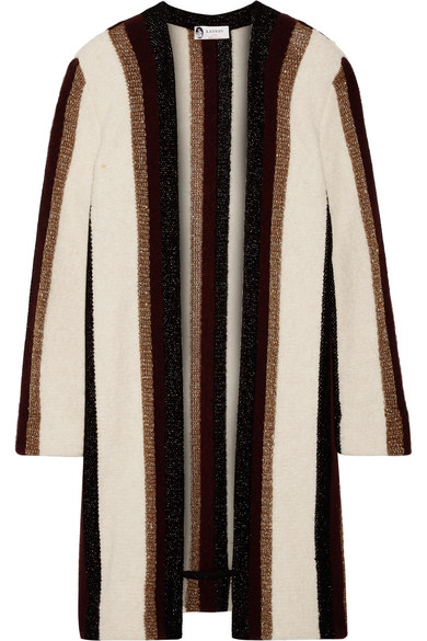 Lanvin - Striped Metallic Knitted Cardigan - White at NET-A-PORTER