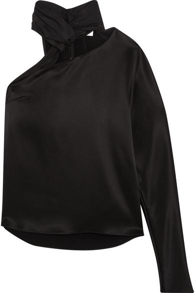 Lanvin - One-shoulder Cutout Satin Top - Black at NET-A-PORTER