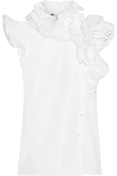 Lanvin - Ruffled Lace-trimmed Cotton-poplin Blouse - White at NET-A-PORTER