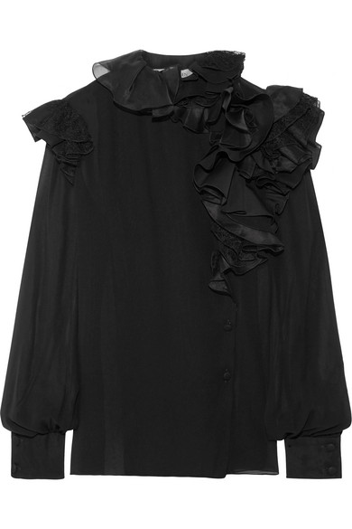 Lanvin - Ruffled Lace-trimmed Silk-chiffon Blouse - Black at NET-A-PORTER