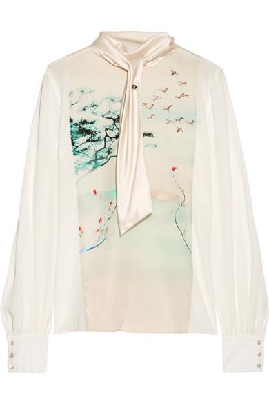 Lanvin - Silk-satin Trimmed Printed Silk-gerogette Blouse - Ivory at NET-A-PORTER