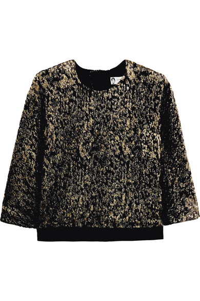 Lanvin - Satin-trimmed Metallic Knitted Top - Black at NET-A-PORTER
