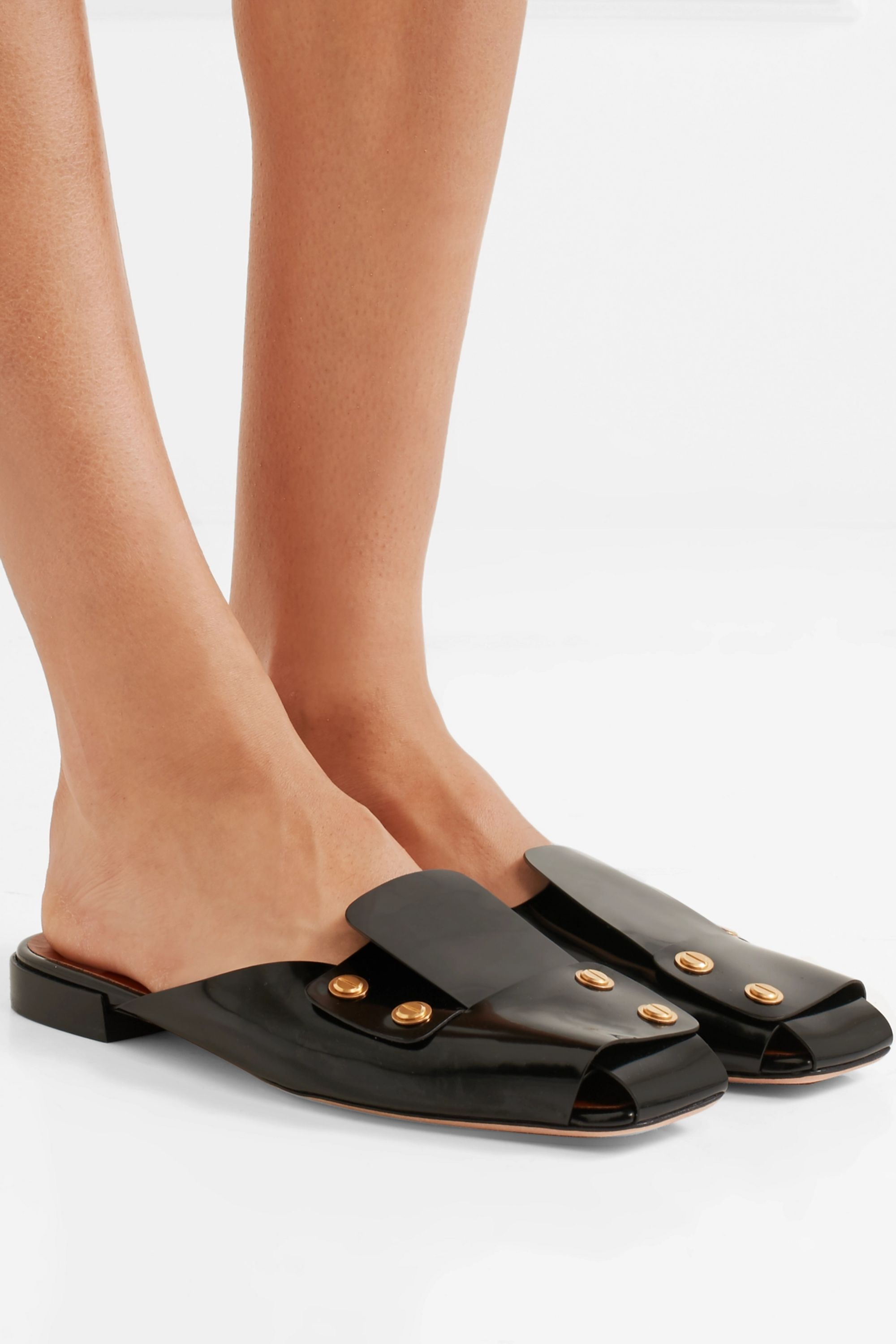 Rosetta Getty Studded patent-leather slippers