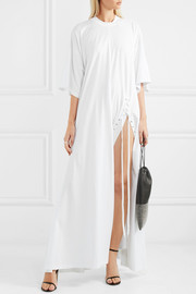 Oversized lace-up cotton-jersey maxi dress