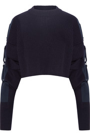Cropped cotton canvas-trimmed wool sweater