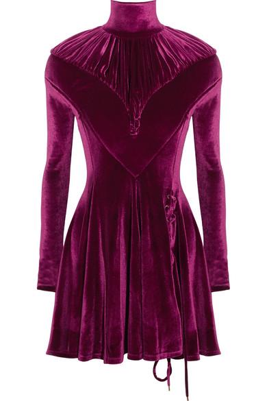 Y/PROJECT - Ruched Velour Turtleneck Mini Dress - Plum