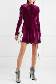 Ruched velour turtleneck mini dress