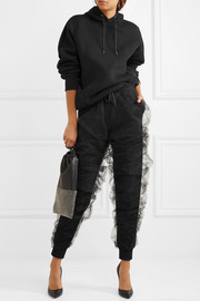 Tulle and cotton-terry track pants