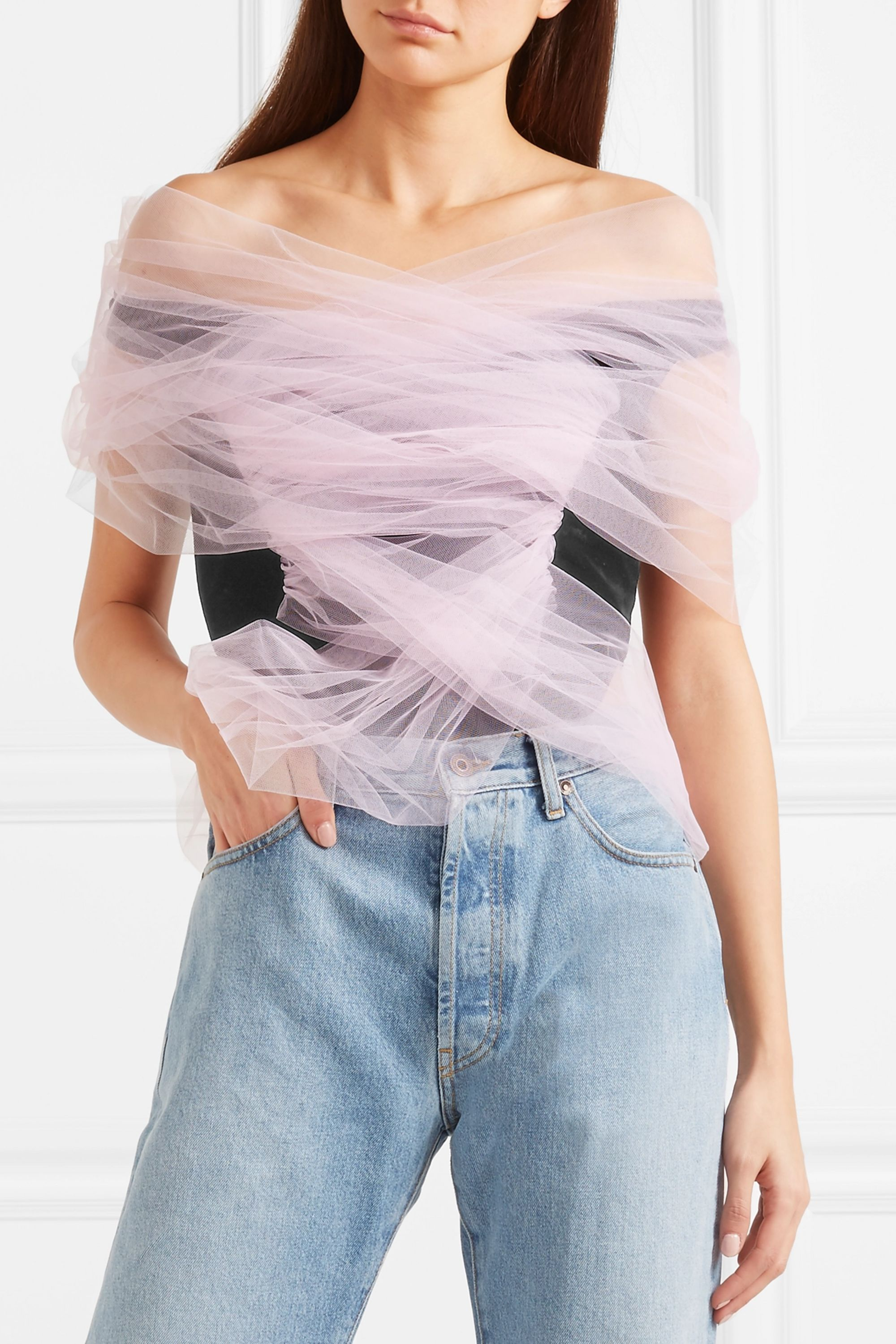 Y/PROJECT Tulle-wrapped velour bodysuit