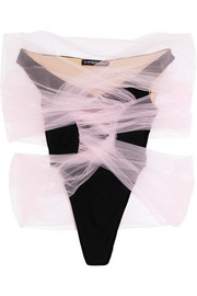 Tulle-wrapped velour bodysuit