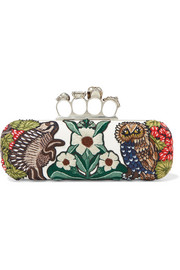 Embellished appliquéd leather clutch