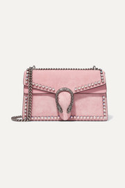 Dionysus crystal-embellished suede shoulder bag