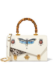 Gucci Ottilia small embellished elaphe-paneled printed leather tote