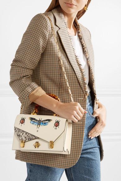 fbe30874be8bbf Gucci | Ottilia small embellished elaphe-paneled printed leather ...