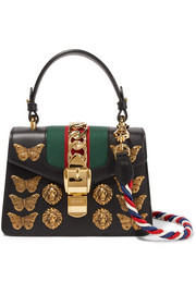 Gucci Sylvie mini embellished leather shoulder bag