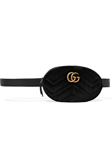 a36fe26cbe08 Gucci. GG Marmont matelassé velvet and leather belt bag