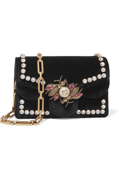 Gucci Broadway Embellished Velvet Shoulder Bag