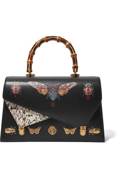 9bf1009c241 Gucci. Ottilia large embellished elaphe-paneled printed leather tote