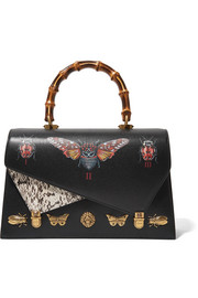 Gucci Ottilia large embellished elaphe-paneled printed leather tote